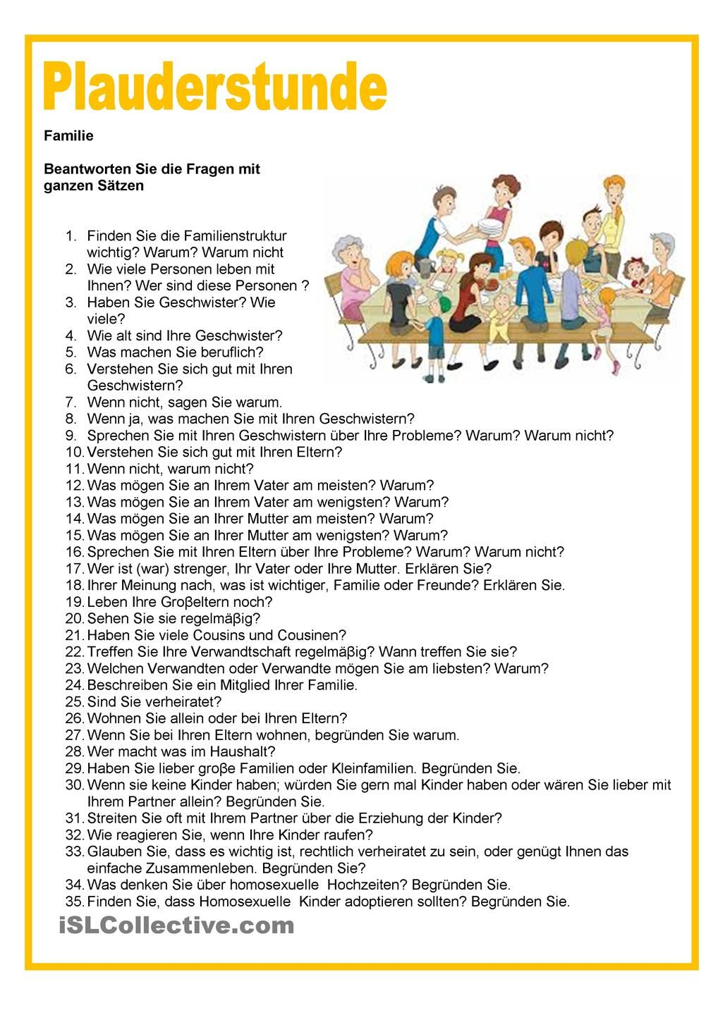 Plauderstunde - Familie | german | Pinterest | Printable worksheets ...