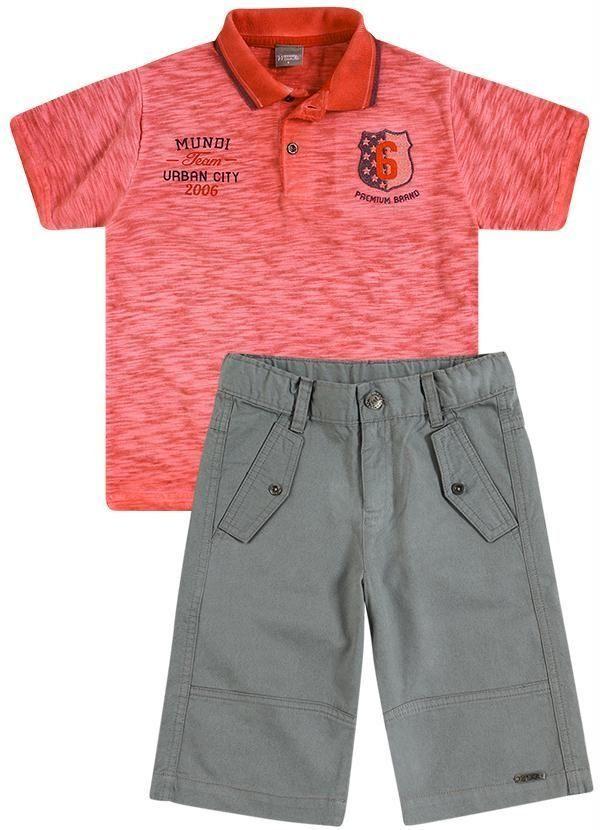 bd776b3cd41 Conjunto Camisa Polo e Bermuda Cargo Brandili Mundi Roupas Infantis