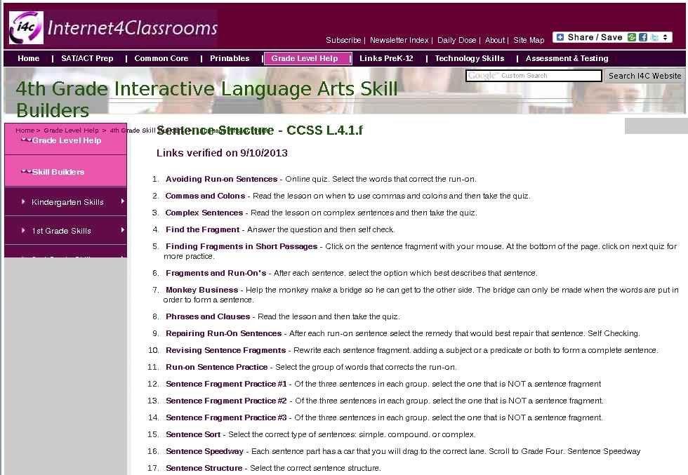Fourth Grade Language Skill Builders - Sentence Fragments ...