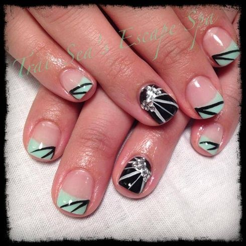 Mint Green With Rhinestone Bows By Traiseasescape From Nail Art