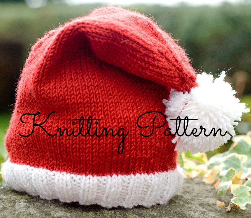 Knitting Pattern Baby Santa Hat Double by BlueberryBarnDesigns ... d62794892fc