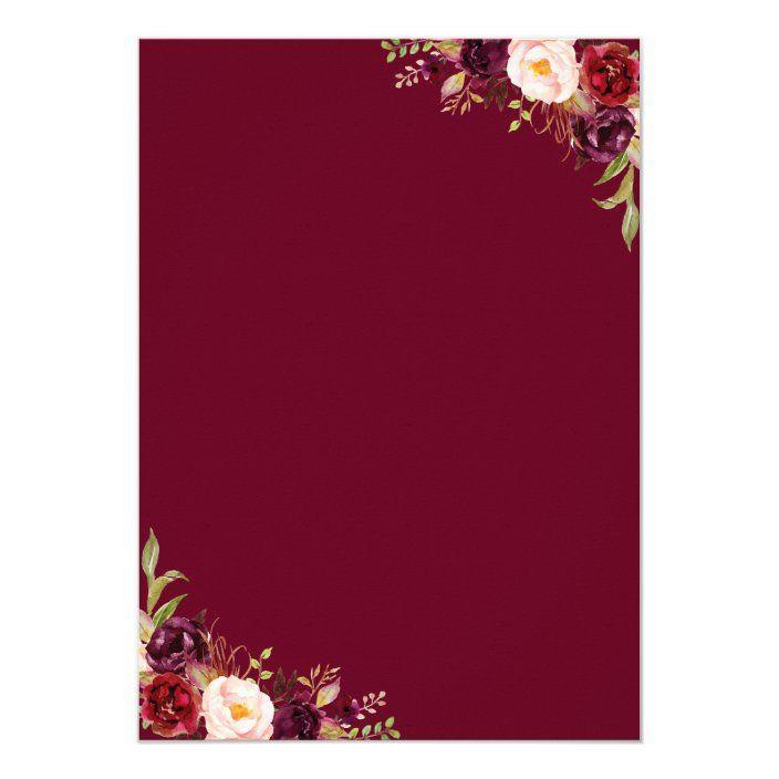 Invitación Acuarela Borgoña Rojo Floral Rústico Bo
