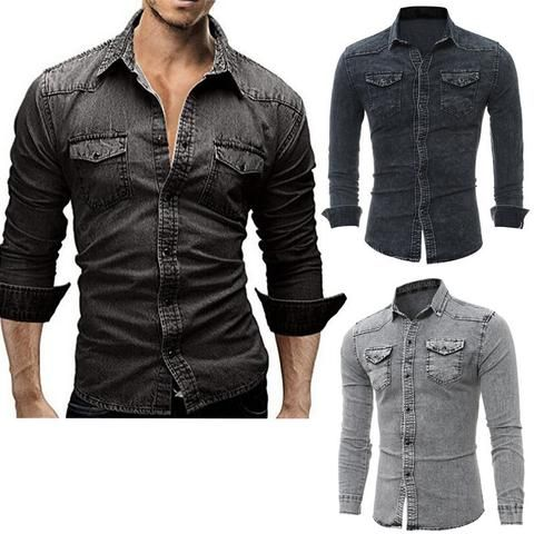 cfac6bceef7 Fashion Men s Casual Long Sleeve Bodycon Wash Vintage Slim Fit Denim Jeans  Blouse Shirts Tops Man Streetwear Outfits Clothes