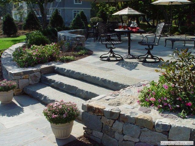 Best Slate Rock Stairs Off Of Patio New Jersey Landscaping 400 x 300