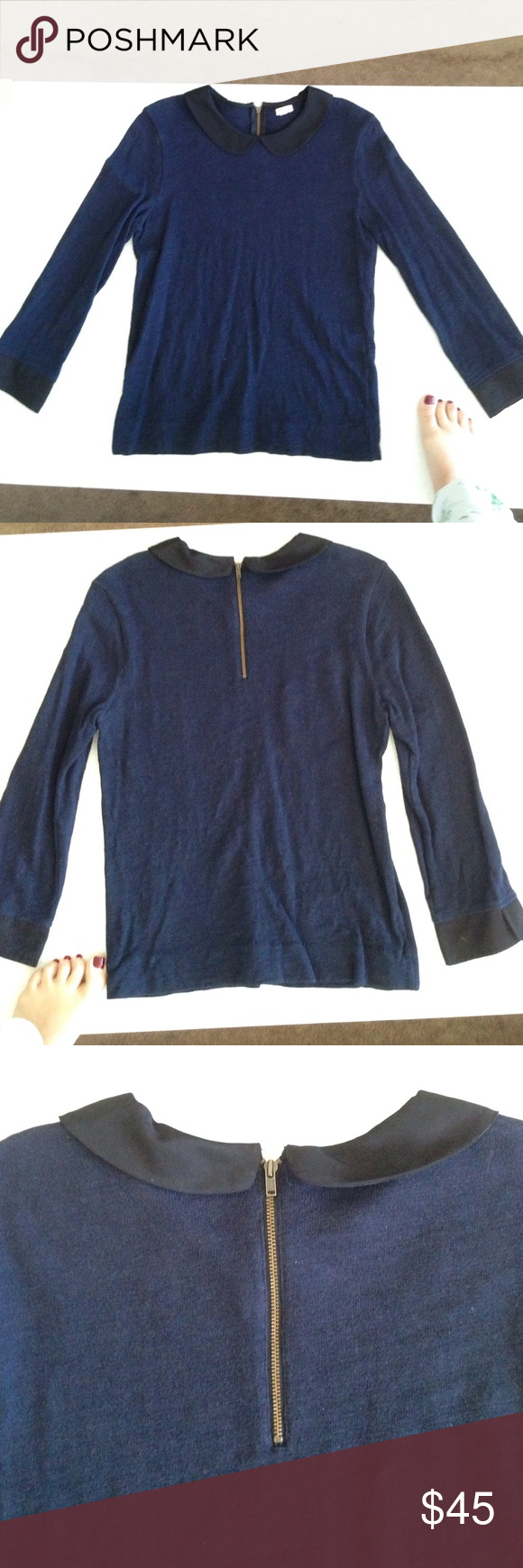 J Crew Peter Pan Collared Shirt in Navy & Black Love this Peterson Pan Collared Shirt!! It's in perfect condition and has a great zipper on the back!!  If you live in Chicago you could do a pick up for a lower price. Please ask any questions... J. Crew Tops Blouses