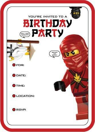 Lego Ninjago Birthday Invitations Printable