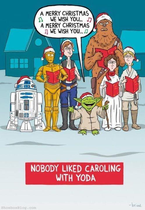 Caroling With Yoda Star Wars Humor Star Wars Christmas Cards Star Wars Christmas