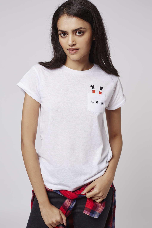 e823c9fe1538 PETITE Ho Ho Ho Pocket Tee - Tops - Clothing - Topshop ...