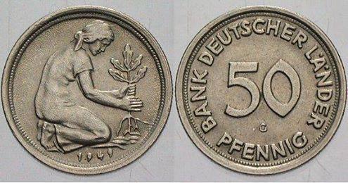 50 Pfennig Münzen aus DM (Deutsche Mark,sie hatte bestand