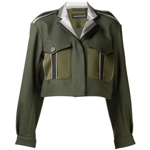 OSTWALD HELGASON cropped blazer ($859) ❤ liked on Polyvore featuring outerwear, jackets, blazers, stripe blazer, striped jacket, long sleeve jacket, ostwald helgason and long sleeve blazer