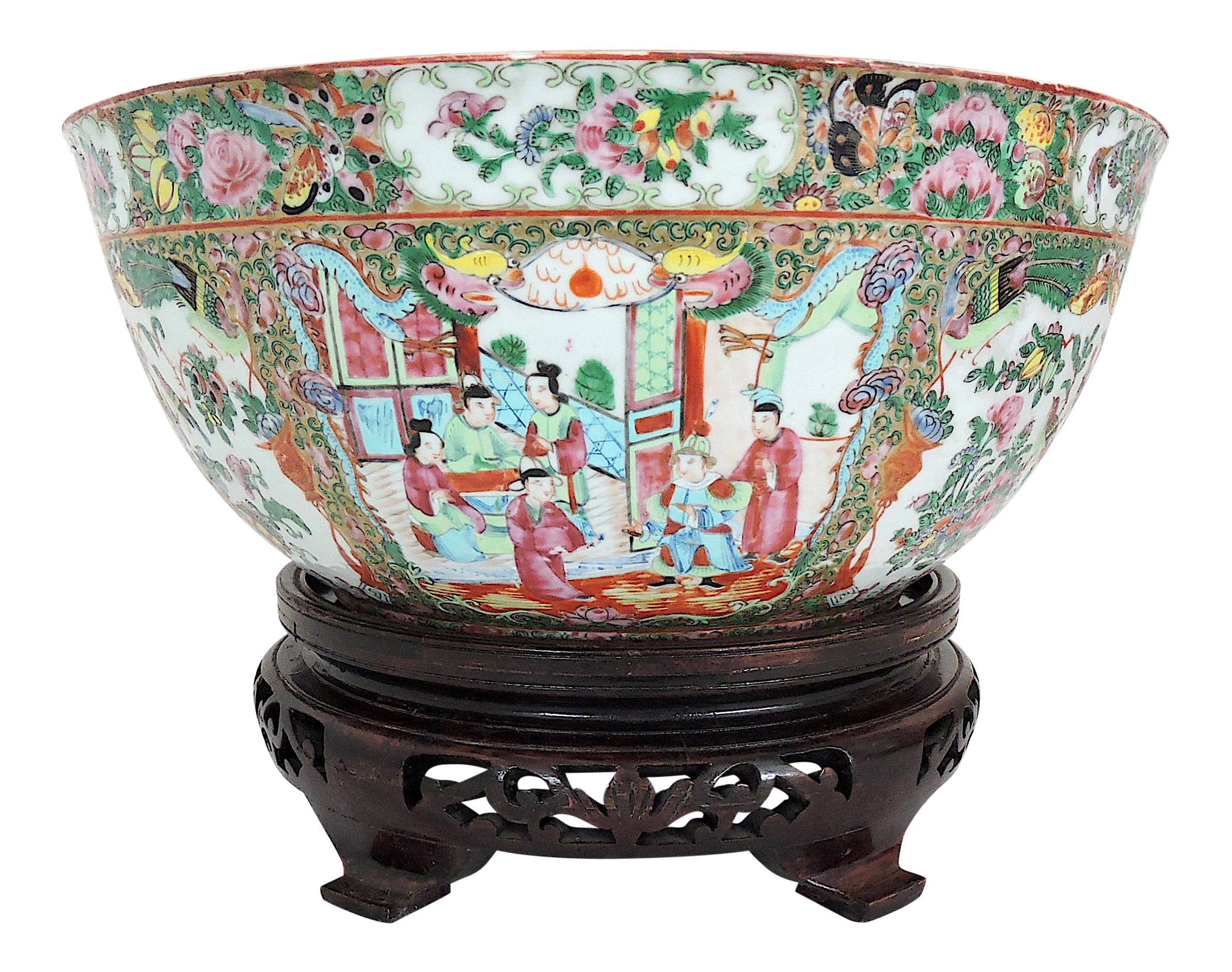Antique Chinese Canton export porcelain famille rose medallion vase late Qing