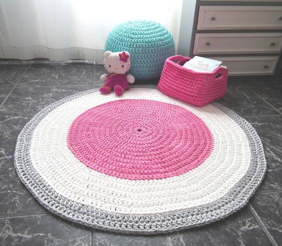 Pink Crochet Nursery Rug, Girls Room Round Carpet, Baby