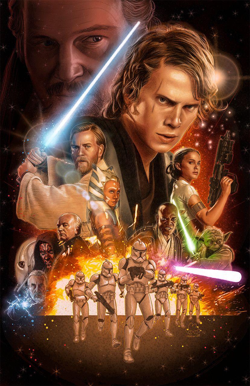 The Prequel Trilogy By Kelvin Nguyen Star Wars Images Star Wars Painting Star Wars Trilogy