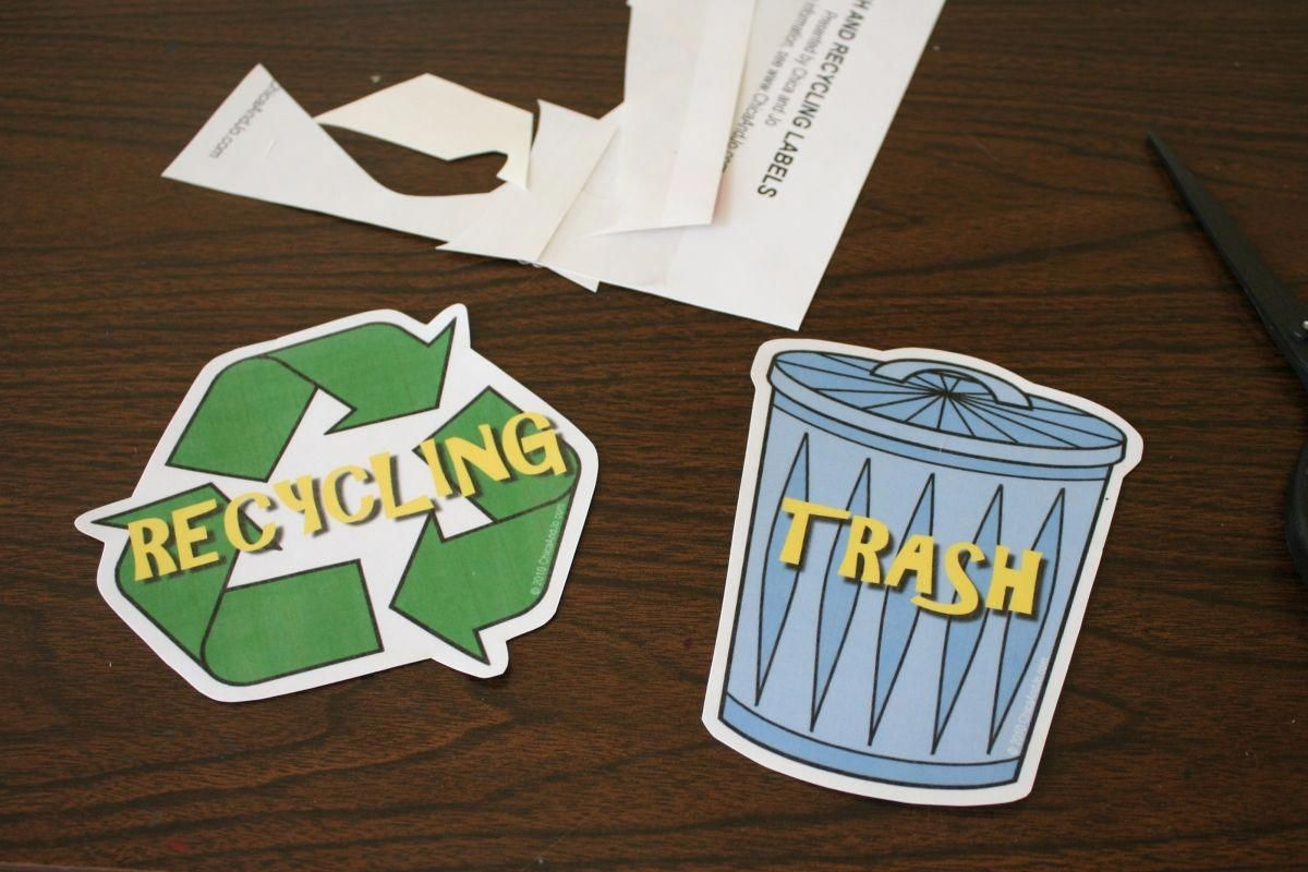 Trash And Recycle Can Labels