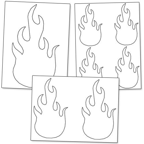 printable flame stencils print these on red orange and yellow