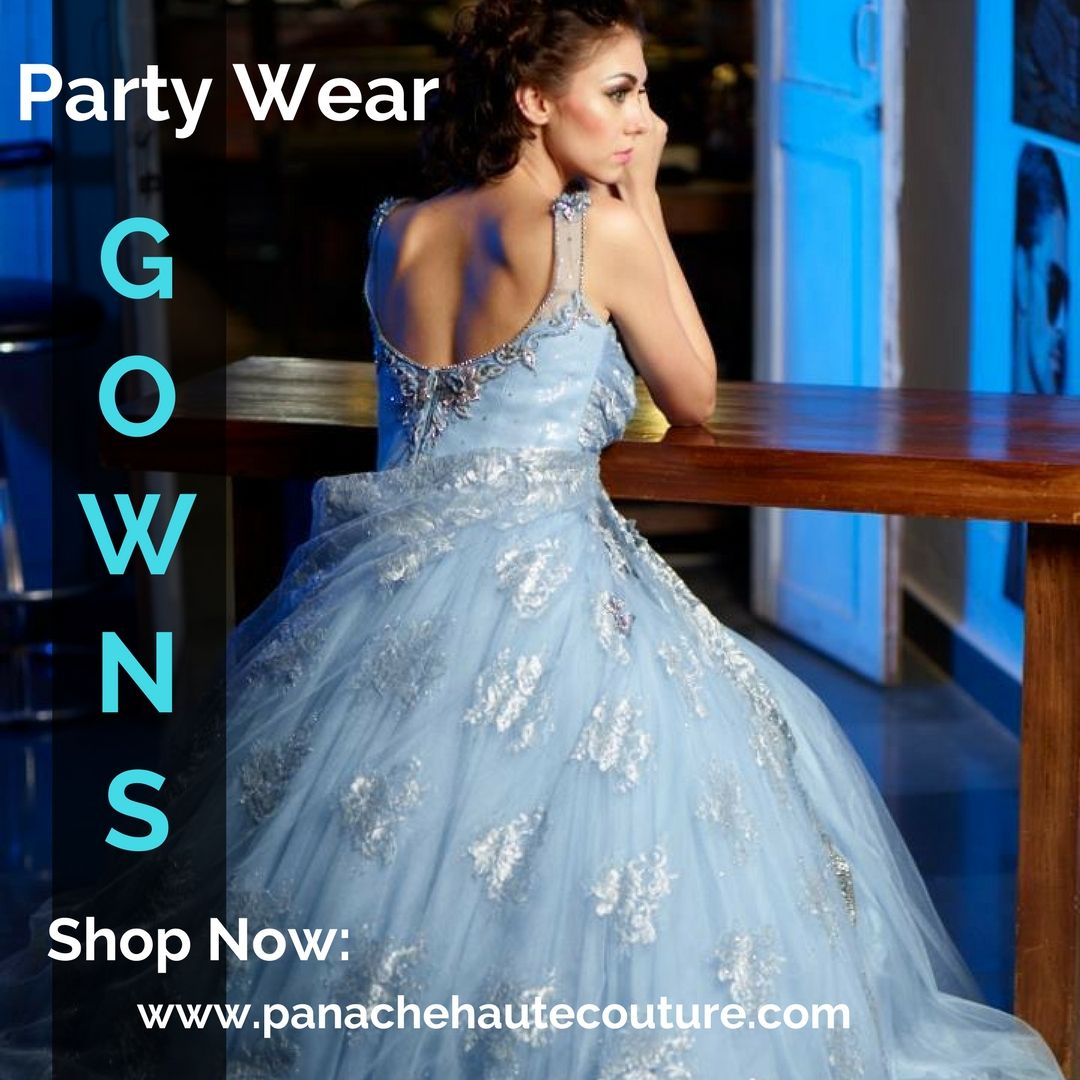 Sky blue color Indo Western gown | Westerns, Blue colors and Evening ...