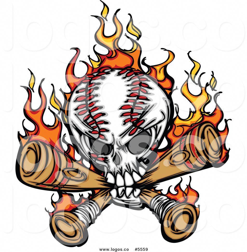 Royalty Free Vector of a Logo of a Baseball Skull Biting
