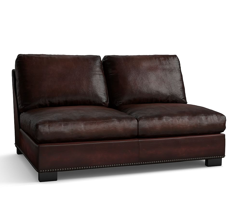 Turner Leather Square Arm Armless Love Seat with Bronze
