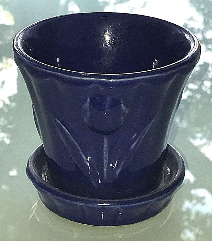 Vintage 1950 S Shawnee Pottery Tulips Cobalt Blue Glazed 4 Flower Pot Saucer Ebay Shawnee Pottery Blue Pottery Pottery