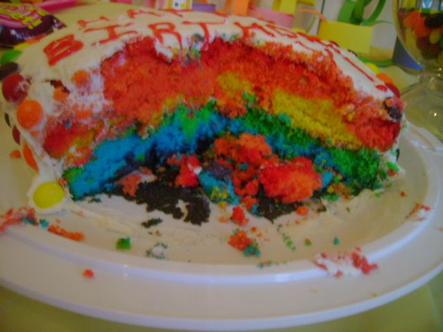What fun to cut into!!! Rainbow layered cake!