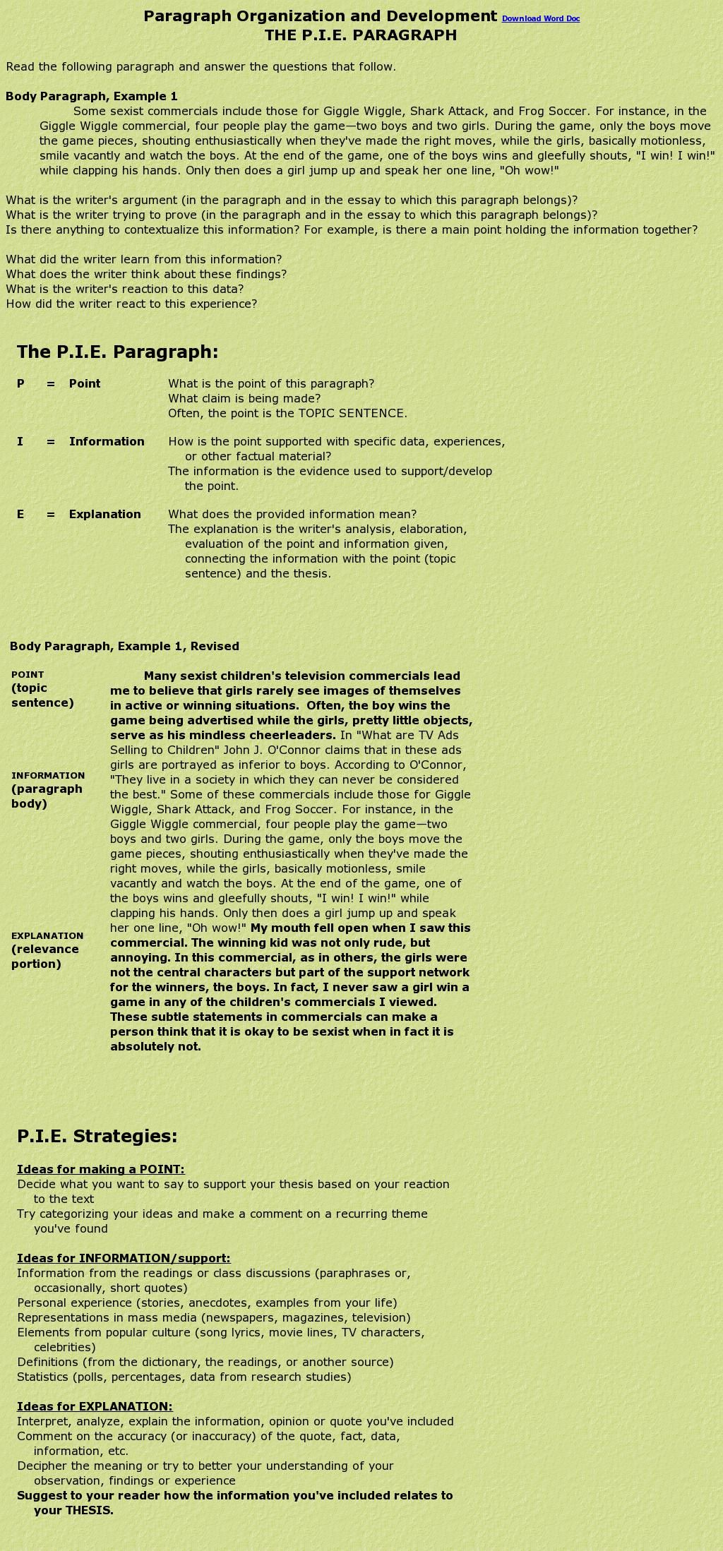 Pie Paragraph The Website Http Jonsenglishsite Info Pieparagraph Htm Courtesy Of Pinstamatic Pi Topic Sentence Writing Instruction Learn English Teaching Paraphrasing With Song Lyrics Lyric