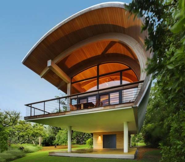 Organic Design Ideas Guest House With Curved Wood