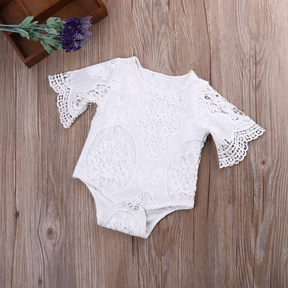 Cute Adorable Trendy White Infant Baby One Piece With Lace Long
