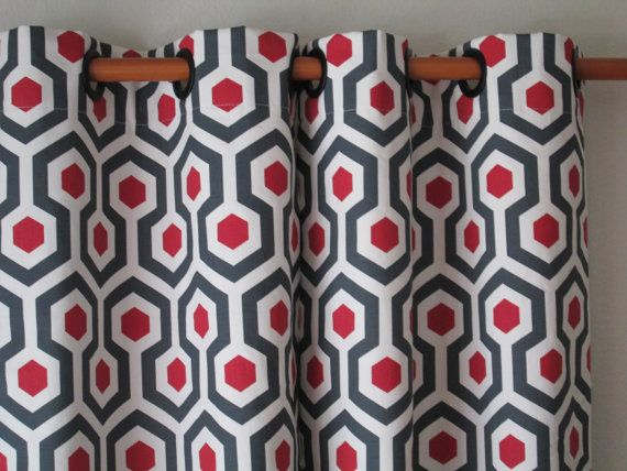 pair of 25 wide premier print magna red and grey curtains panels drapes curtains 25x63 25x84. Black Bedroom Furniture Sets. Home Design Ideas