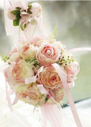 14*14cm Gorgeous Pink Silk Cloth Ribbon Wedding Bridal Bouquets - Wedding Flowers - Accessories