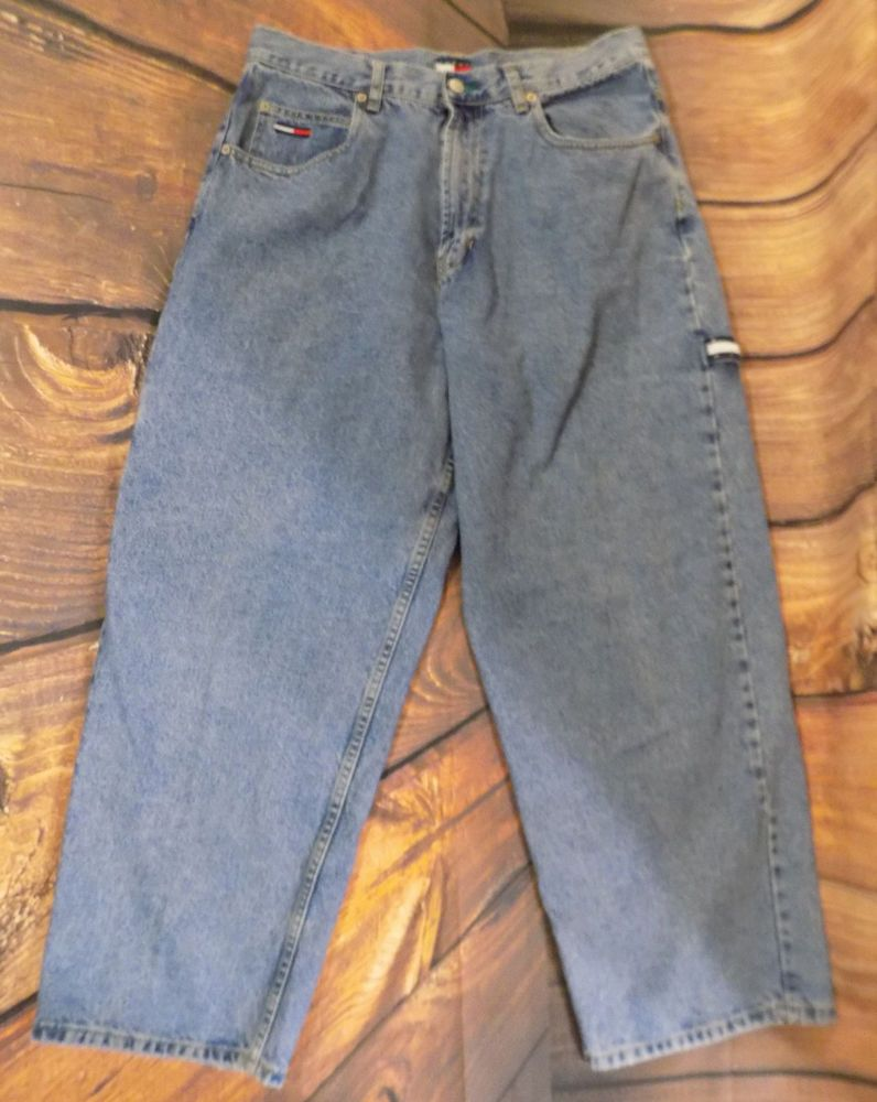 90s Tommy Hilfiger Jeans Vintage Denim Back Spellout Loose Baggy Fit 34x29 Baggy qzsQ3x
