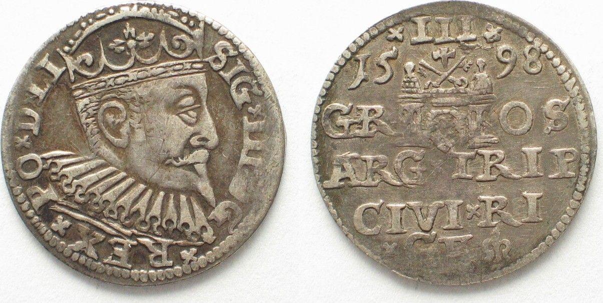 1598 Riga RIGA 3 Groschen (Trojak) 1598 GE SIGISMUND III of POLAND silver VF/VF+ # 95134 VF/VF+