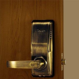 1touch Iq2 Biometric Fingerprint Door Lock Right Handed Antique Brass By Fingerprintdoorlocks 989 00 Fingerprint Door Lock Fingerprint Lock Door Locks