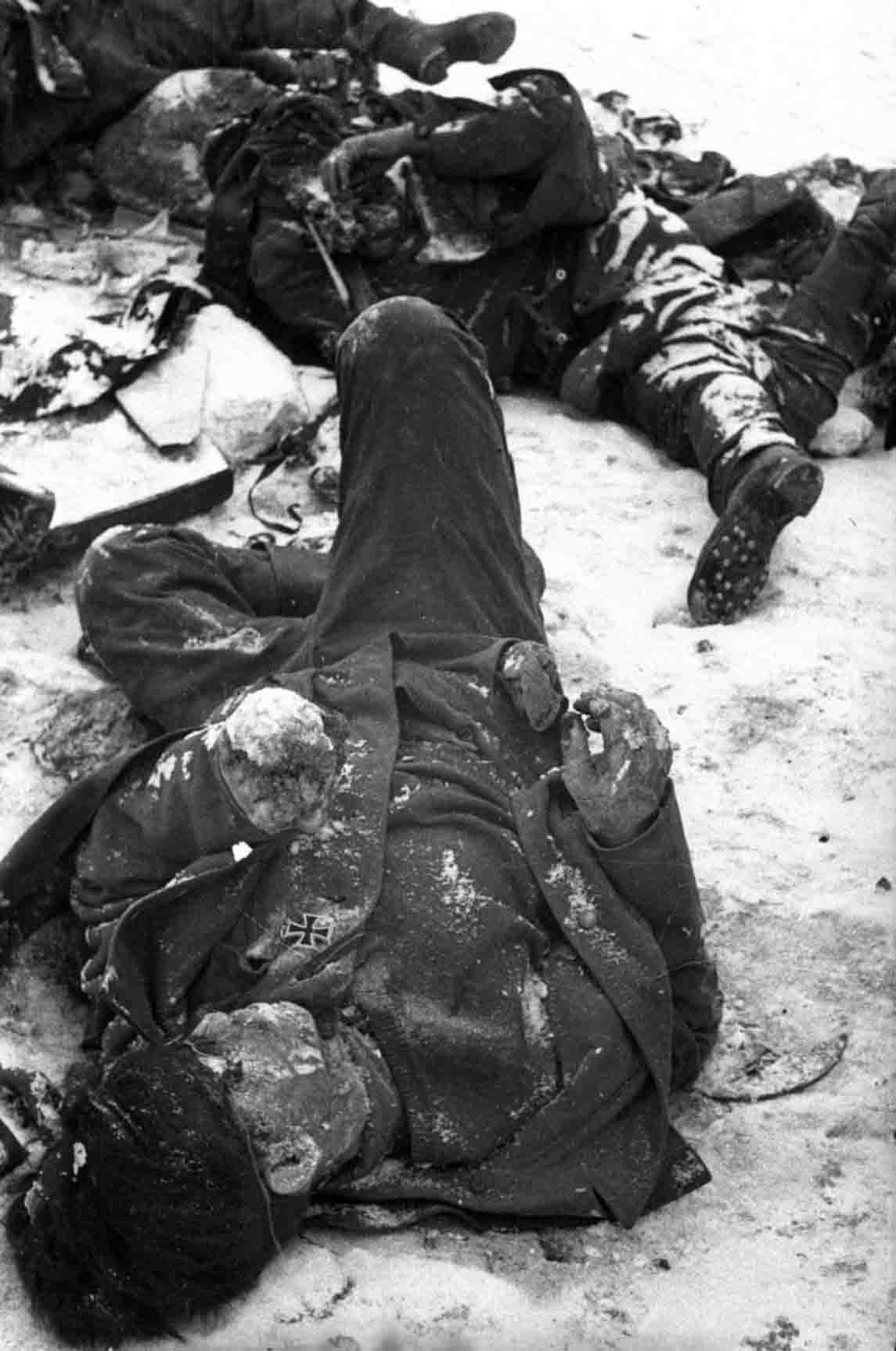 German soldiers killed in the Battle of Stalingrad. Note the Iron Cross still on the tunic in the foreground.