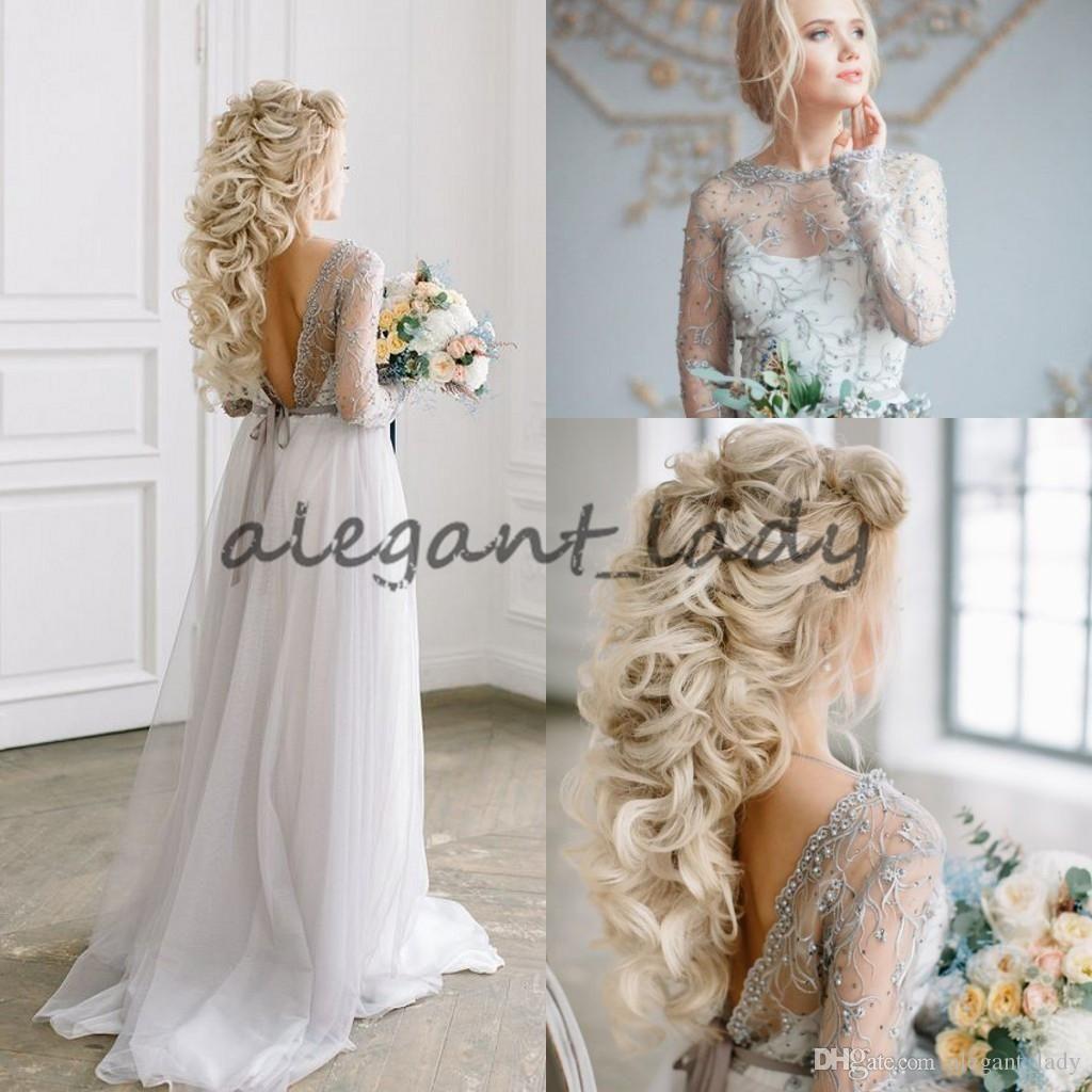 Fairy toddler light grey boho wedding dresses with long sleeve