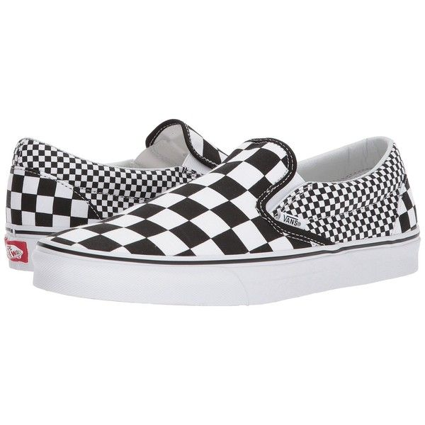36ec9fa3b06 Vans Classic Slip-Ontm ((Mix Checker) Black True White) Skate Shoes ( 55) ❤  liked on Polyvore featuring shoes