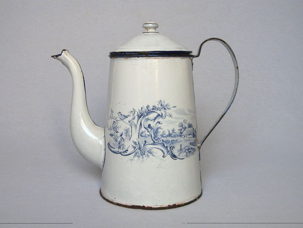 Enamelware ANTIQUE FRENCH COFFEE POT From The 1800s With Superb Blue Decors