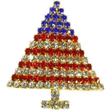 Vintage Patriotic Christmas Tree Pin \u2013 Red Blue Crystal Rhinestones