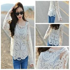 New Sexy Semi Sheer Sleeve Embroidery Floral Lace Crochet Tee T-Shirt Top Blouse
