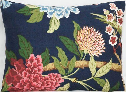 Cushion Cover GP Baker Fabric Hydrangea Blue Linen