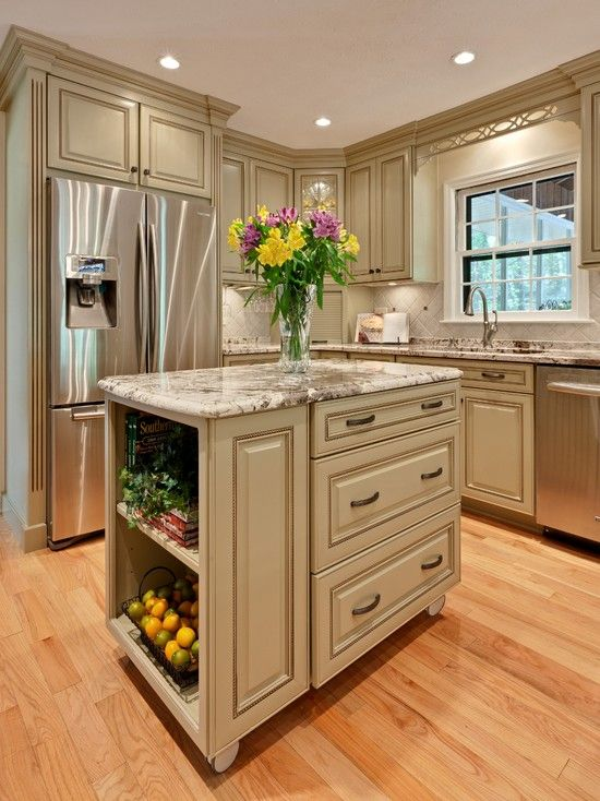 Small kitchen island--diy this by attaching an old dresser and small