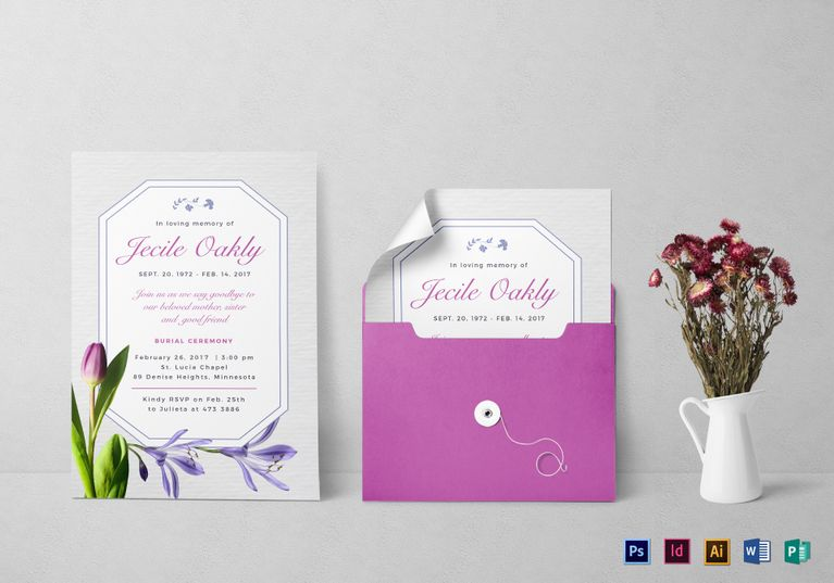 Burial Invitation Template Commercial printing Template and Card