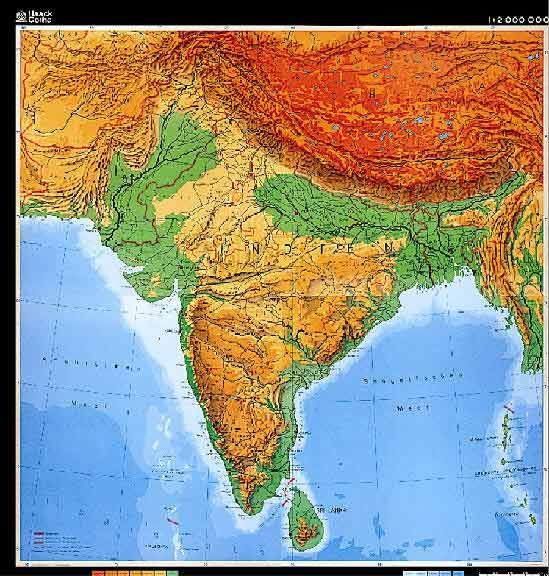 Printable Physical Map of India | Unlabelled South Asia Physical ...