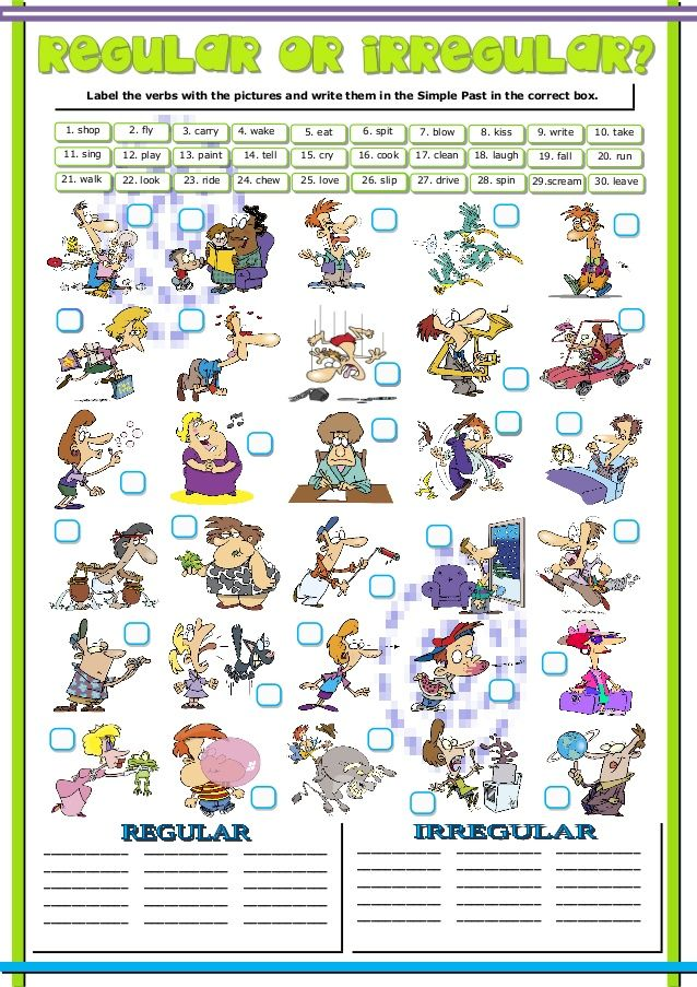 Label The Verbs With The Pictures And Write Them In The Simple Past In The Correct Box 1 Shop Irregular Verbs Regular And Irregular Verbs Simple Past Tense