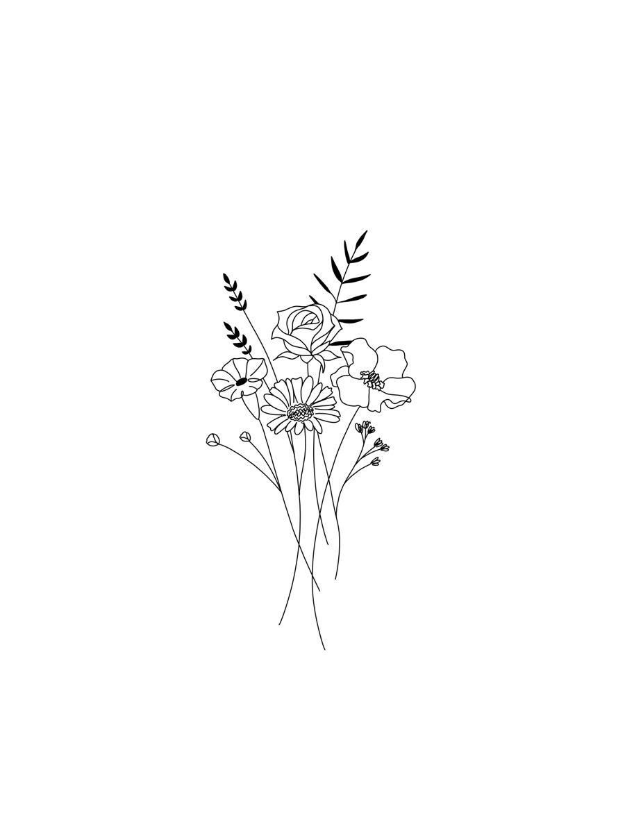 Simple minimalist dainty floral custom tattoo desi