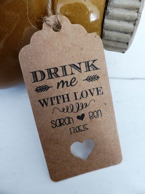 Personalised Drink Me Wedding Favour Gift Tags Thank You Guest Label