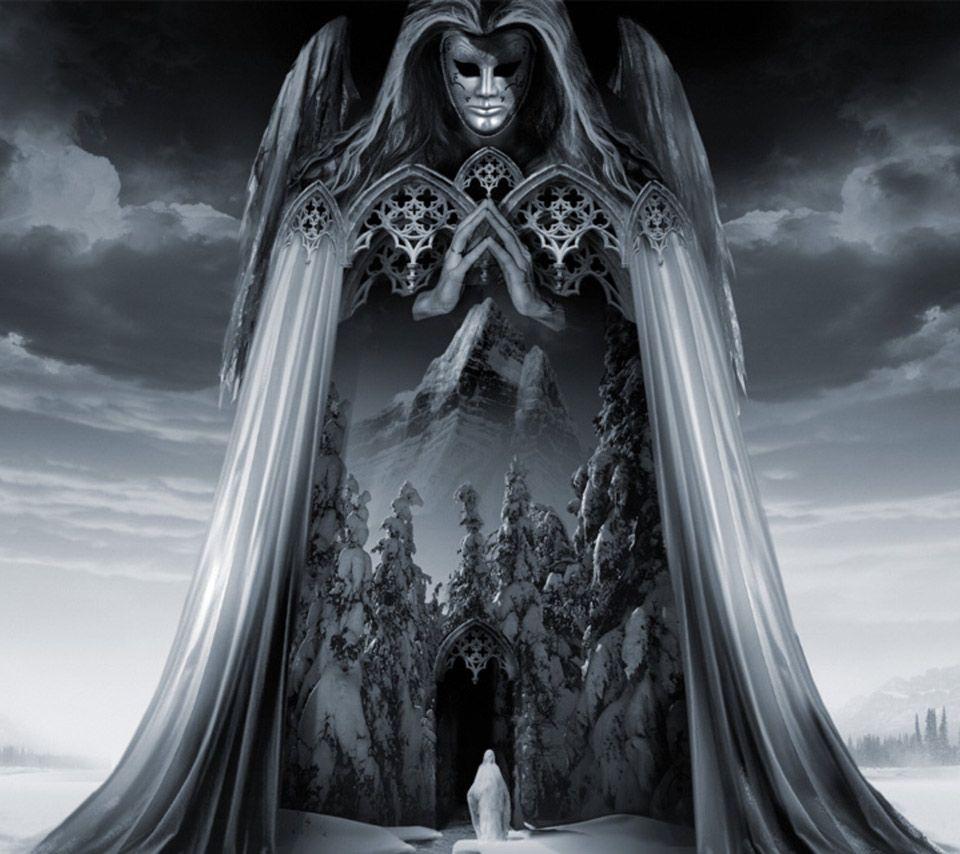 Fantasy Dark Castle Art Angel Angels Black Cool