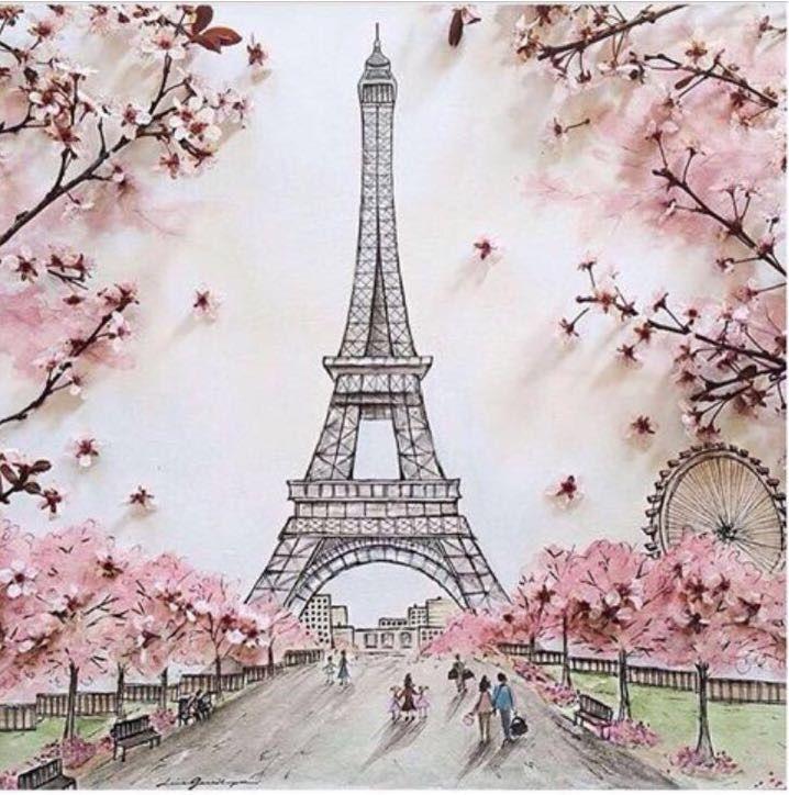 Cherry Blossom Art Menara Eiffel Seni Jepang Foto Abstrak