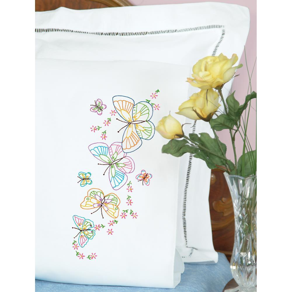 Jack Dempsey Stamped Pillowcases W//White Perle Edge 2//Pkg-Cross