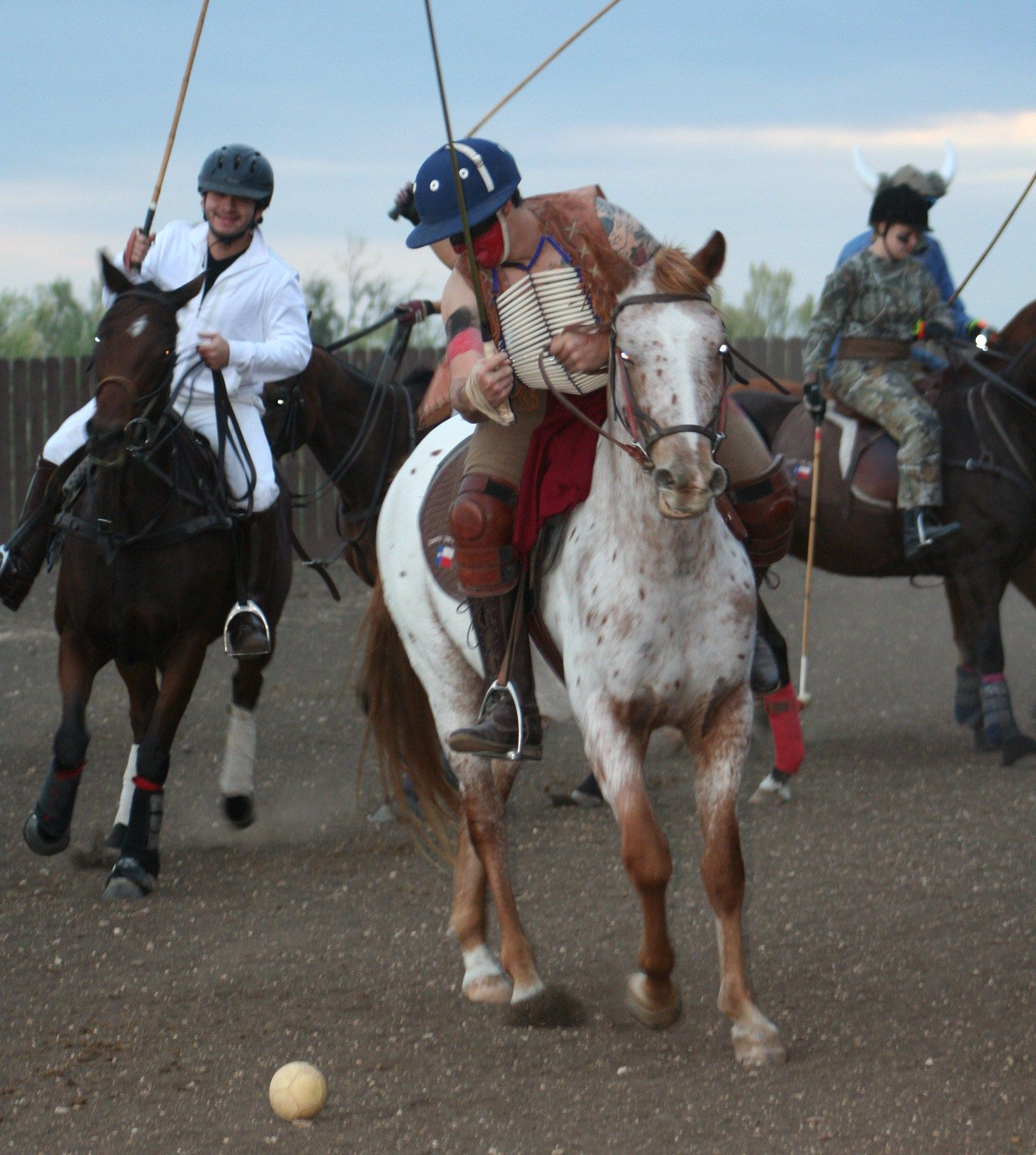 Indian Chief James on new polo pony Pancho during costumed match in Texas.Photo taken by Diane Goforth Bray.