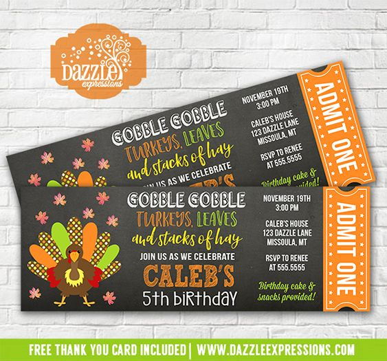 Printable turkey chalkboard ticket birthday invitation kids printable turkey chalkboard ticket birthday invitation kids thanksgiving birthday invite fallautumn birthday filmwisefo Images
